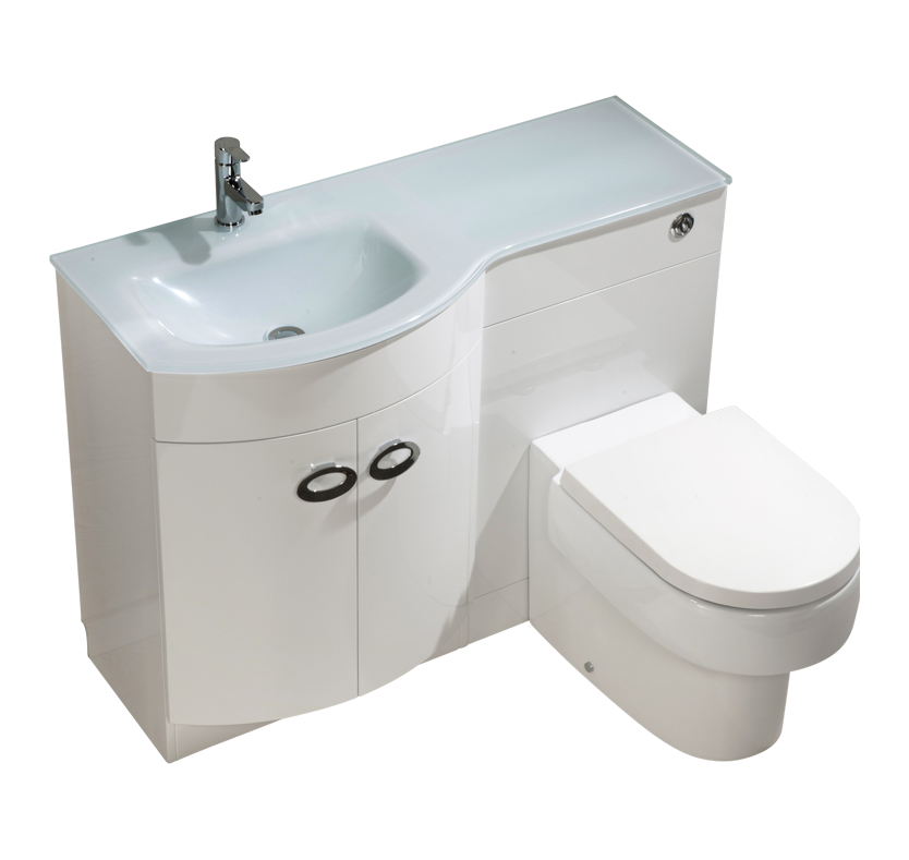 Curve Left Hand Vanity and WC Unit with Madison Toilet  White Glass