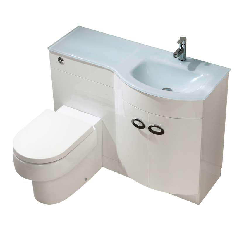 Curve Right Hand Vanity and WC Unit with Madison Toilet - White Glass
