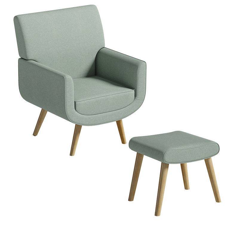 Yves Armchair and Footstool - Sage