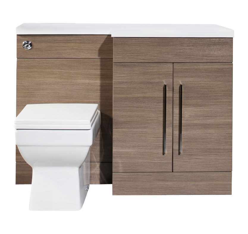 iSpace Right Hand Vanity and WC Unit with Newport Toilet  Medium Oak