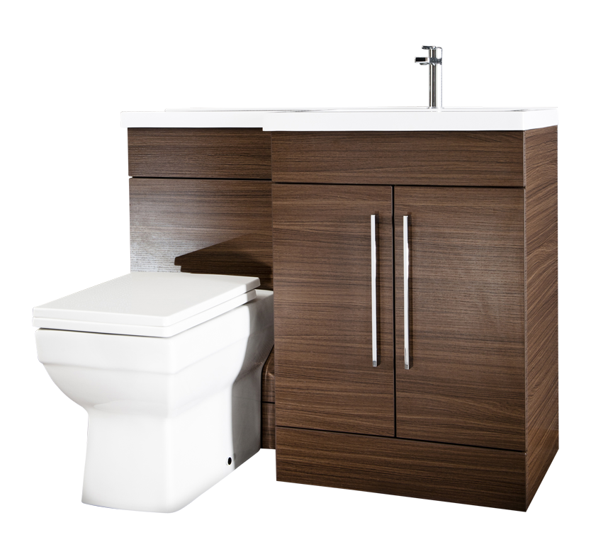 iSpace Right Hand Vanity and WC Unit with Newport Toilet  Walnut