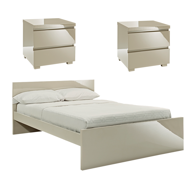 Gleam 3 Piece Bedroom Set - Stone