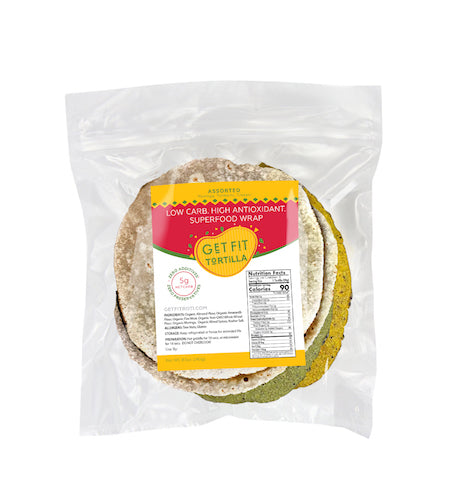 GET FIT Tortilla - Assorted Superfood Flavors (Low Carb, High Antioxidant, Organic, Non GMO)
