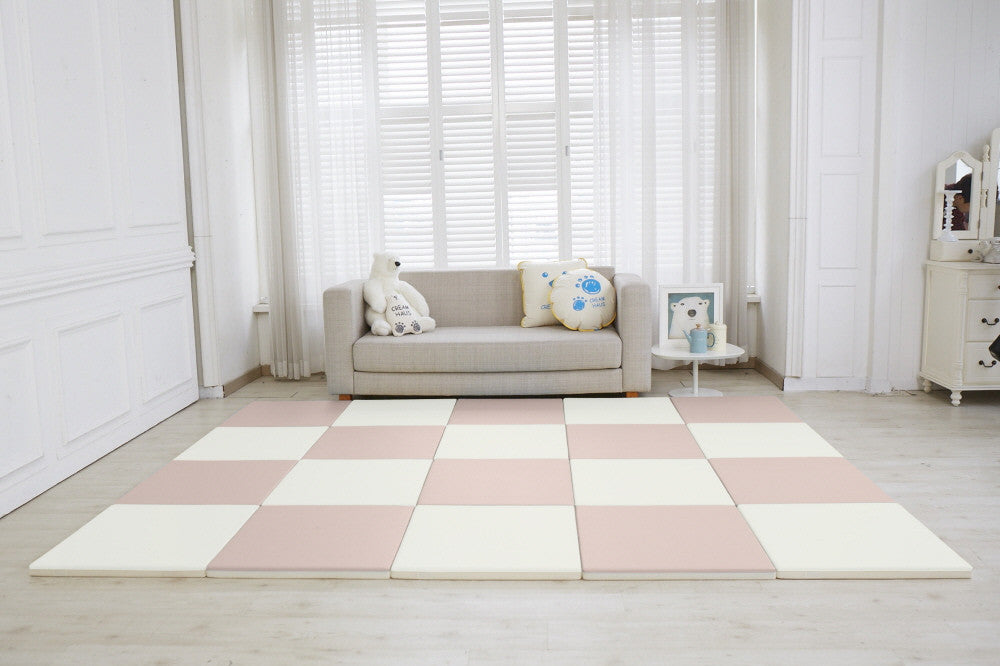 Modular Cube Play Mat - Cream (Set of 4) *PRE-ORDER* - CreamHaus USA - Stylish Non-toxic Foam Baby Play Mats
