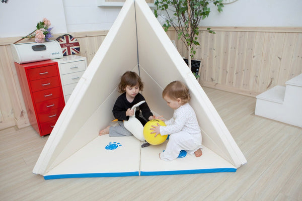 Creamhaus Usa Teepee Transformable Play Mat Blue Edge