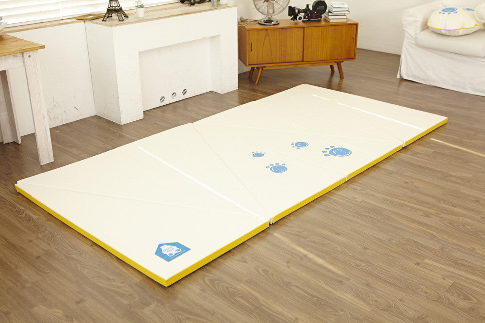 Transformable Play Mat - Yellow Edge - Safe Non-toxic Baby Foam Play Mats by CreamHaus USA