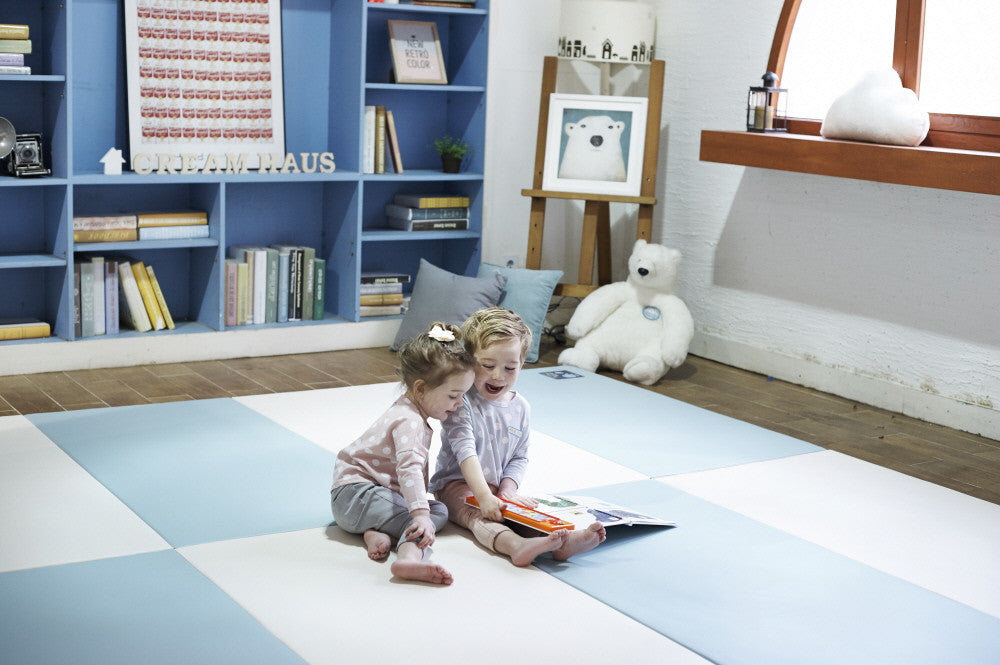 Folding Play Mat - Blue/Cream - CreamHaus USA - Stylish Non-toxic Foam Baby Play Mats