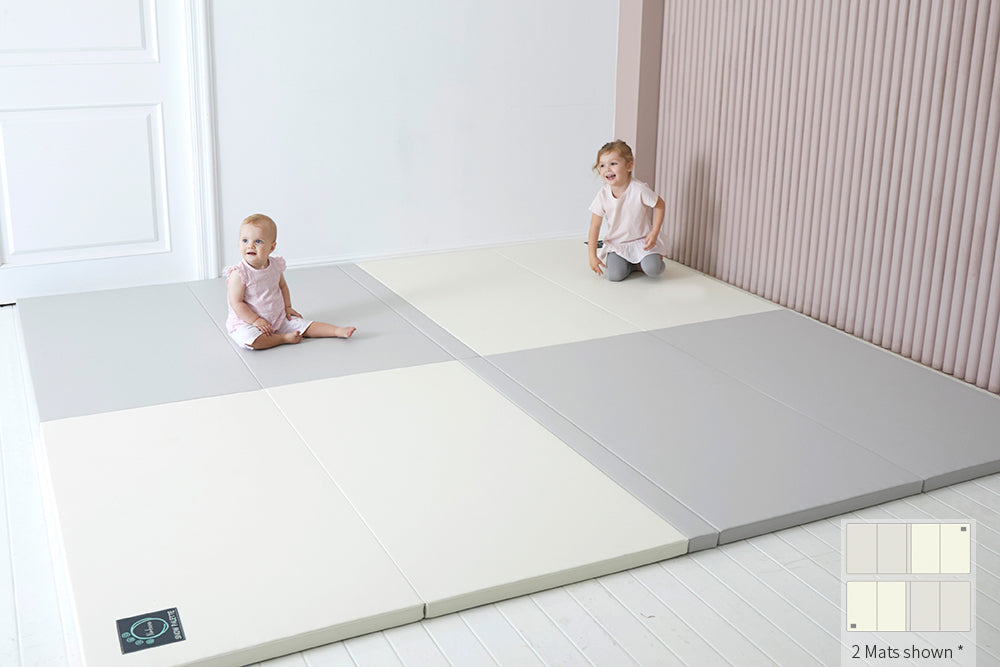 Inward-folding Play Mat - Grey/Cream - Safe Non-toxic Baby Foam Play Mats by CreamHaus USA
