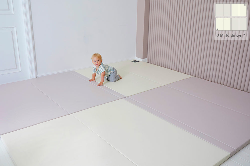 Inward-folding Play Mat - Lavender/Cream *New* - CreamHaus USA - Stylish Non-toxic Foam Baby Play Mats