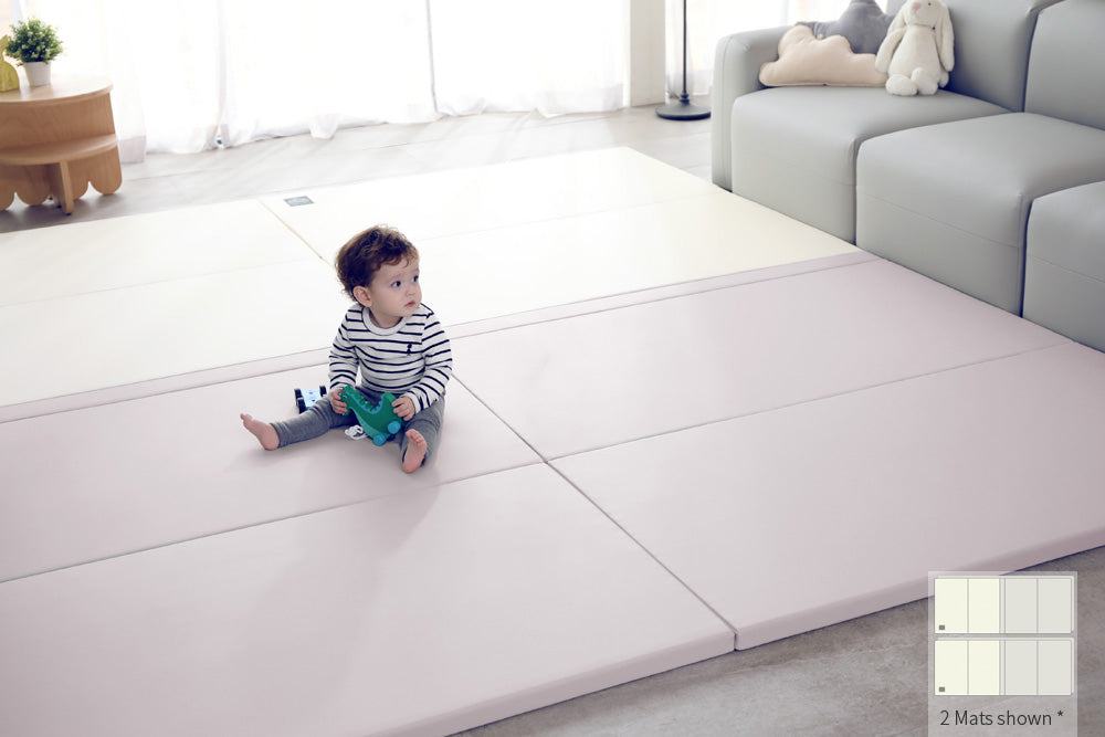 Inward-folding Play Mat - Lavender/Cream - Safe Non-toxic Baby Foam Play Mats by CreamHaus USA
