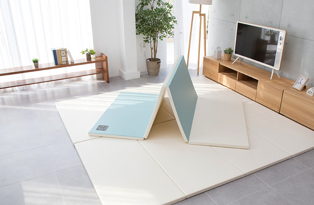 Folding Play Mat - Blue/Cream *PRE-ORDER* - CreamHaus USA - Stylish Non-toxic Foam Baby Play Mats