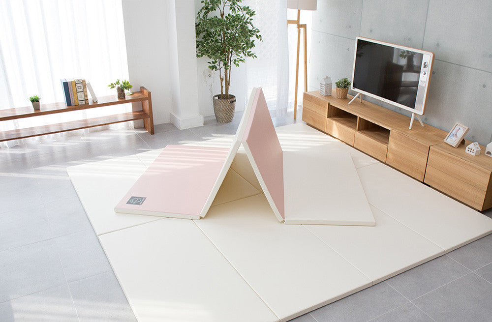 Folding Play Mat - Pink/Cream *PRE-ORDER* - Safe Non-toxic Baby Foam Play Mats by CreamHaus USA