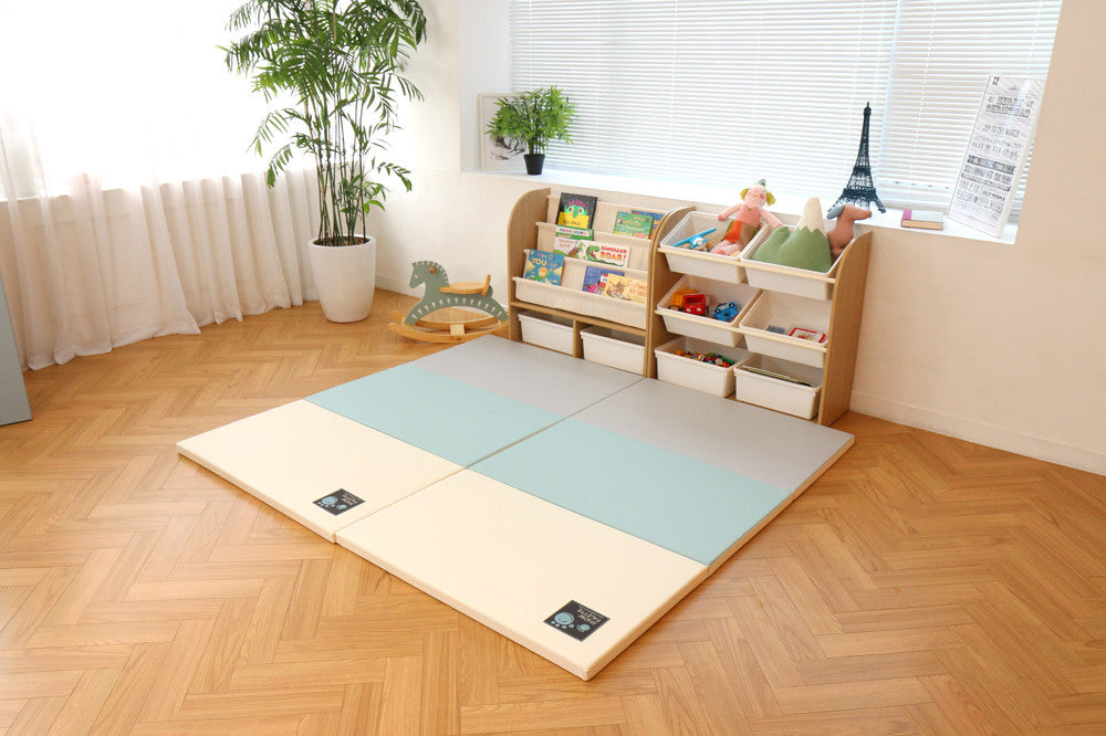 Folding Play Mat - Tri-Fold Multi - Safe Non-toxic Baby Foam Play Mats by CreamHaus USA