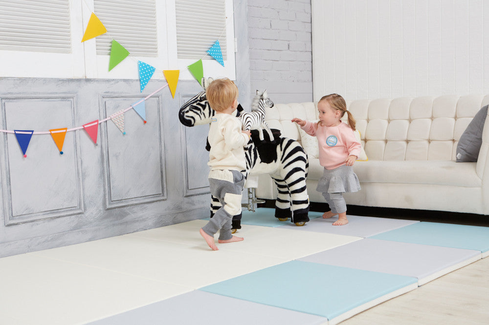Modular Cube Play Mat - Grey (Set of 4) - CreamHaus USA - Stylish Non-toxic Foam Baby Play Mats