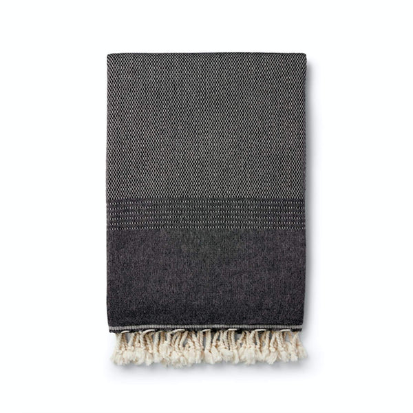 Ekin Cotton & Wool Blend Vintage Style Blankets - Black - Blanket