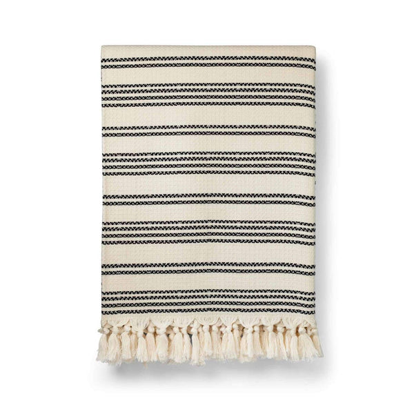 Hilmi - Artisan Cotton Blanket - Navy & Salt - Blanket