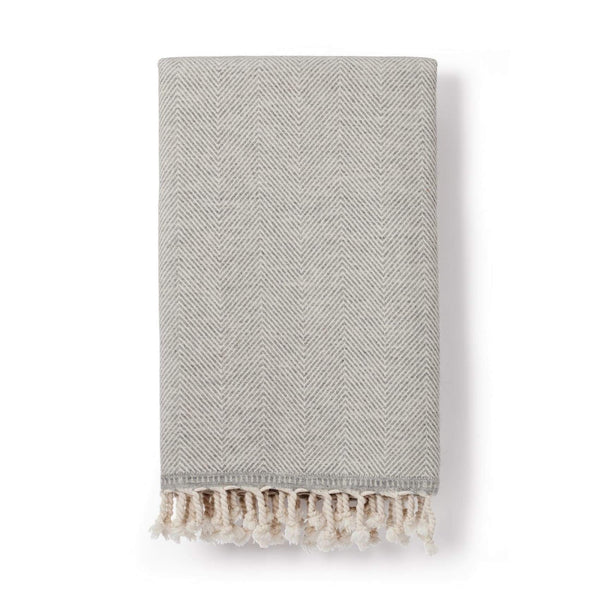 Sema Herringbone Cotton & Wool Blend Blanket Dove Grey - Blanket