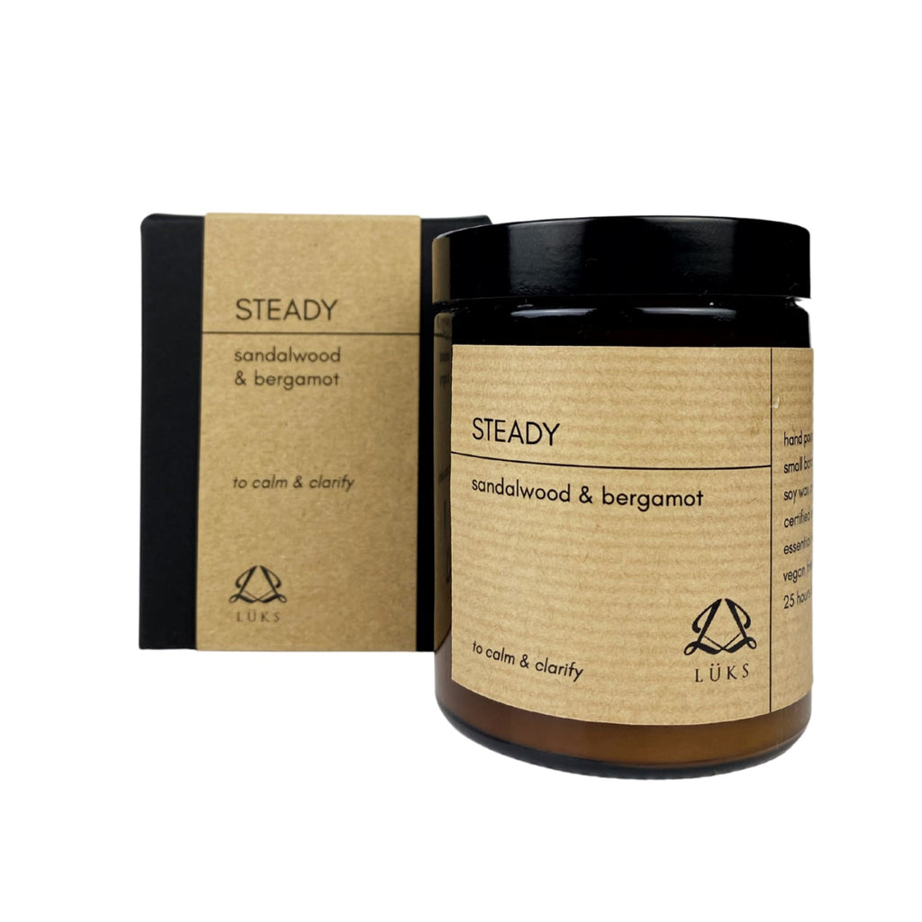 Steady Settle and Soothe - Hand Poured Essential Oil Soy Wax Candles - Steady - Sandalwood & Bergamot