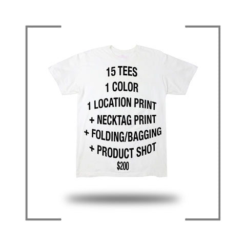 15 Custom Screen Print T Shirt Package Deal Folding Poly Bagging