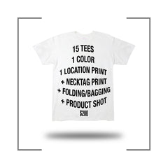 15 Screen Print Tee Package Deal Folding Poly Bagging