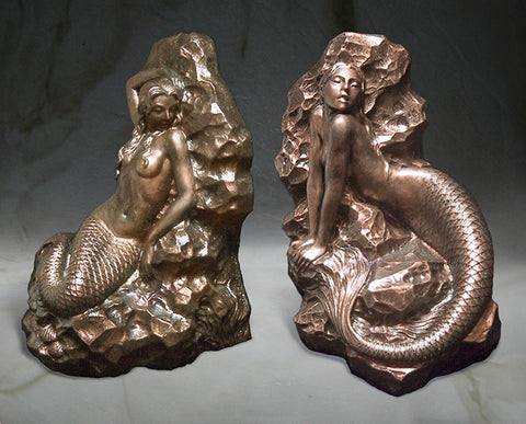 Mermaid Bookends Sculptures - in Bronze Finish - Jun's Deco