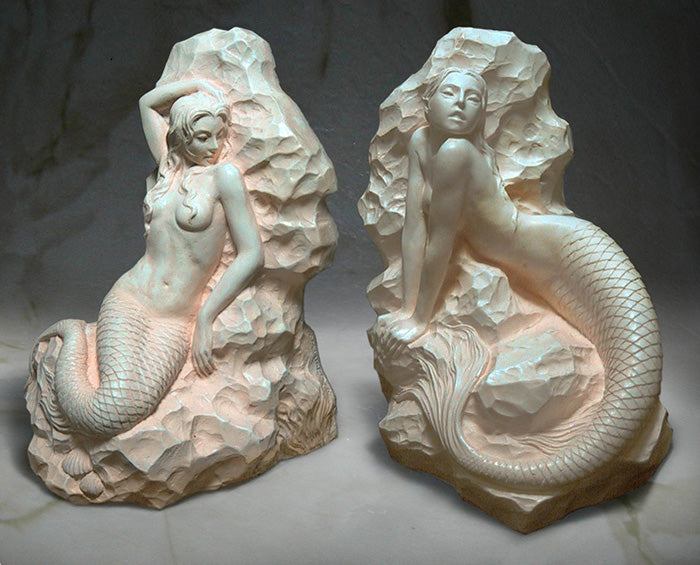 Mermaid Bookends Sculptures - in Ivory Finish - Jun's Deco