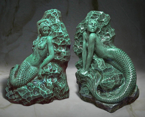 Mermaid Bookends Sculptures - in Antique Green Finish - Jun's Deco