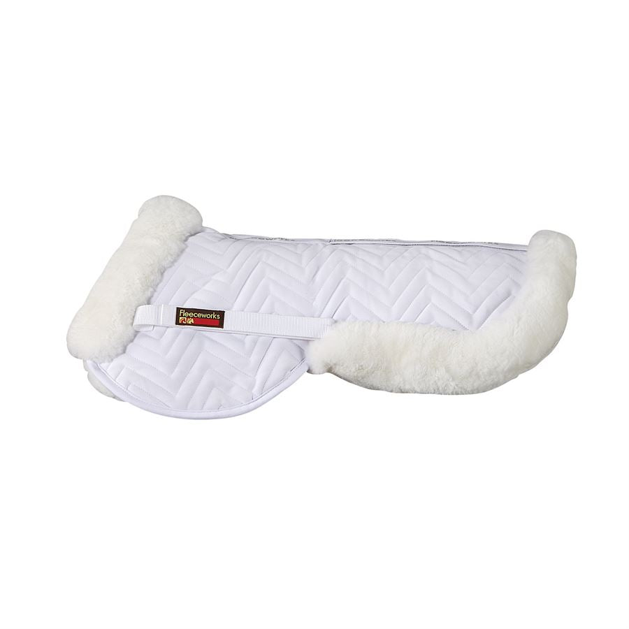 Fleeceworks Sheepskin Half pad, a corrective half pad, helps with poor saddle fit, excellent for everyday protection and comfort. Sheepskin half pad. Dressage half pad, jumping half pad
