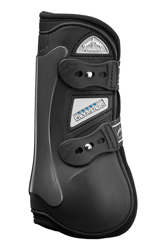 Black Olympus open front jumping boot by Veredus