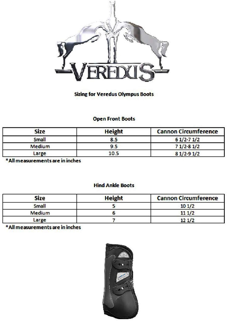 Sizing chart for the Olympus jumping boot by Veredus