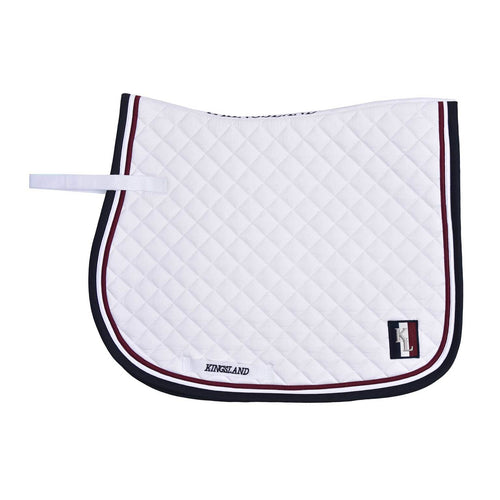 White Kingsland saddle pad with Kingsland logo and deep navy and red edging.