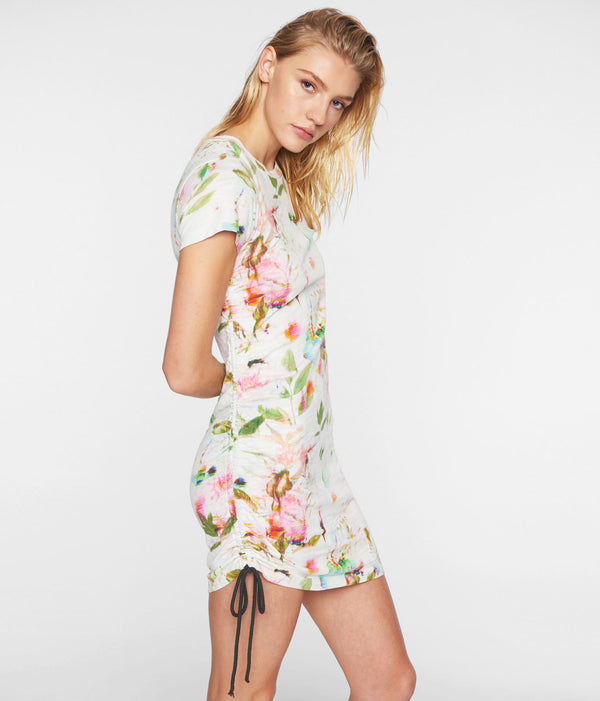 Short Sleeve Side Shirred Dress