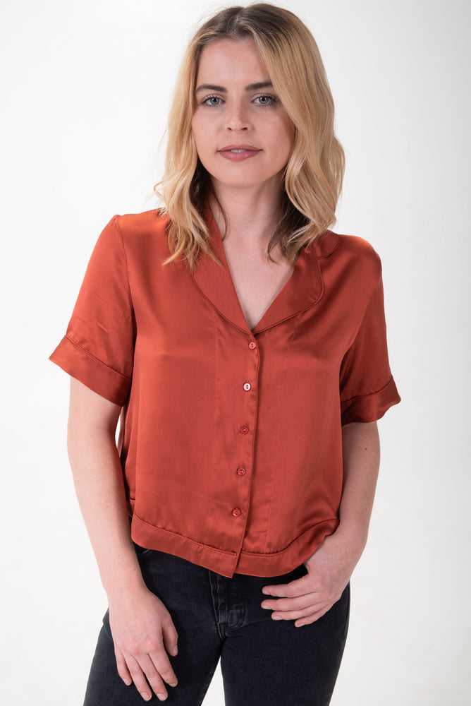 cropped button up silk shirt in rust.
