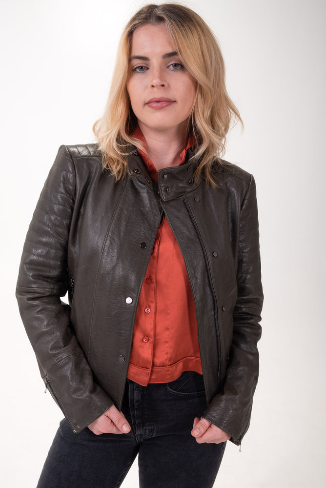 Brown leather moto-style jacket.