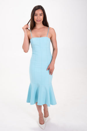mermaid fitted midi dress in blue topaz. Cinq a sept tank dress with bottom flare.
