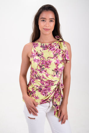 silk floral top by cinq a sept. Pink and green floral print. tank top.