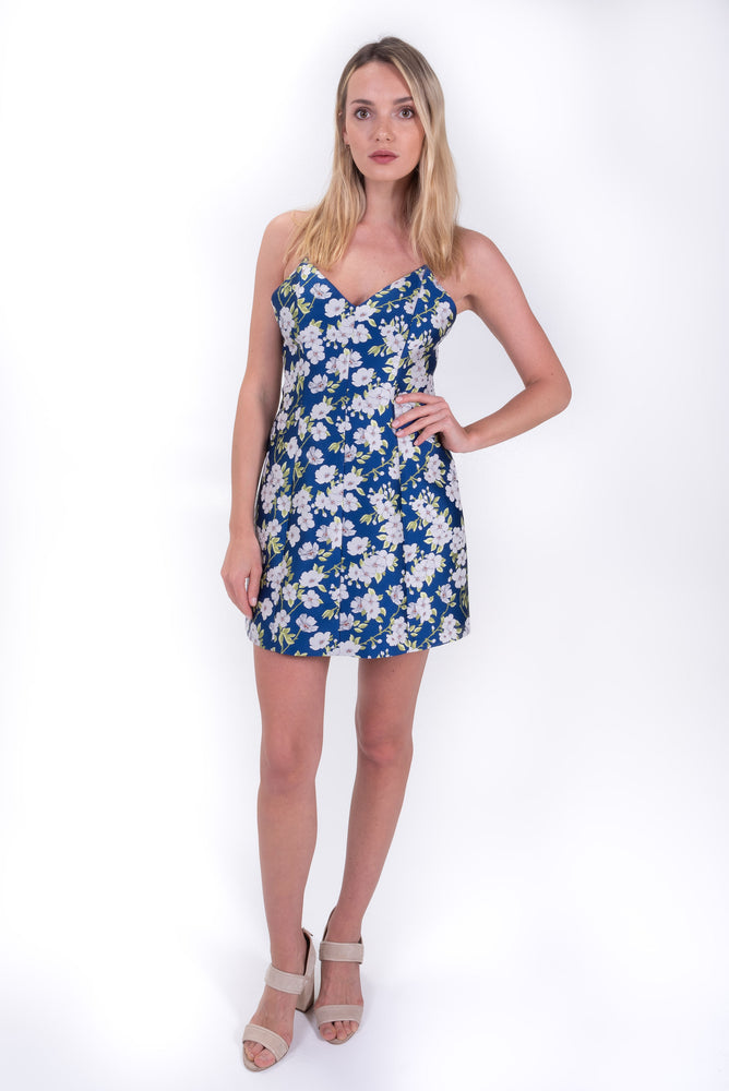 Blue and White floral mini dress. alice + olivia tank mink dress