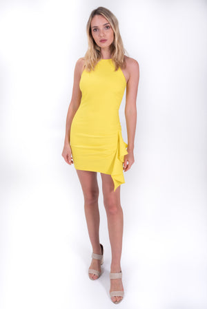 Yellow Mini Dress with ruffled detail by Cinq a Sept