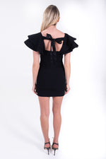 LBD. Little black dress with frilled sleeves. Cinq a Sept.