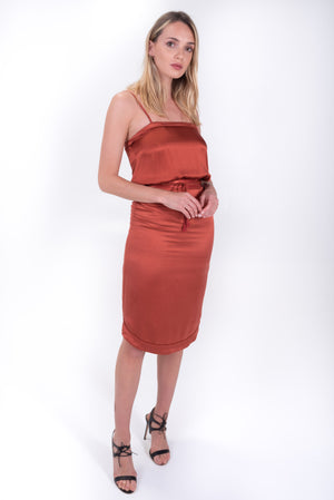 Silk midi dress in rust. Cami style with a tie synch waist. Flannel Australia