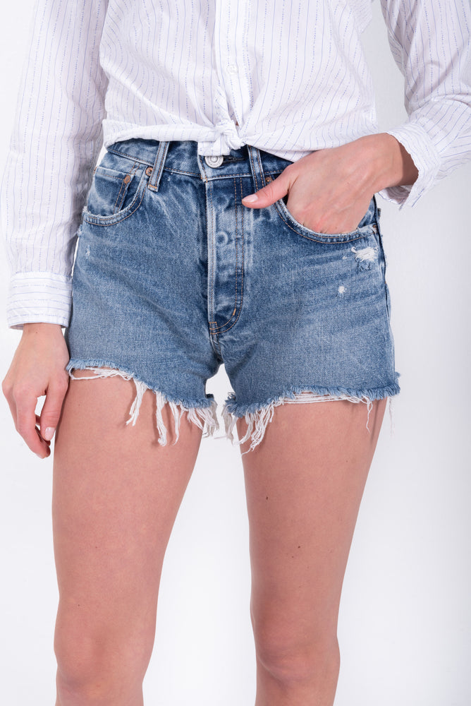 cut-off denim shorts. high waisted denim shorts by Moussy.