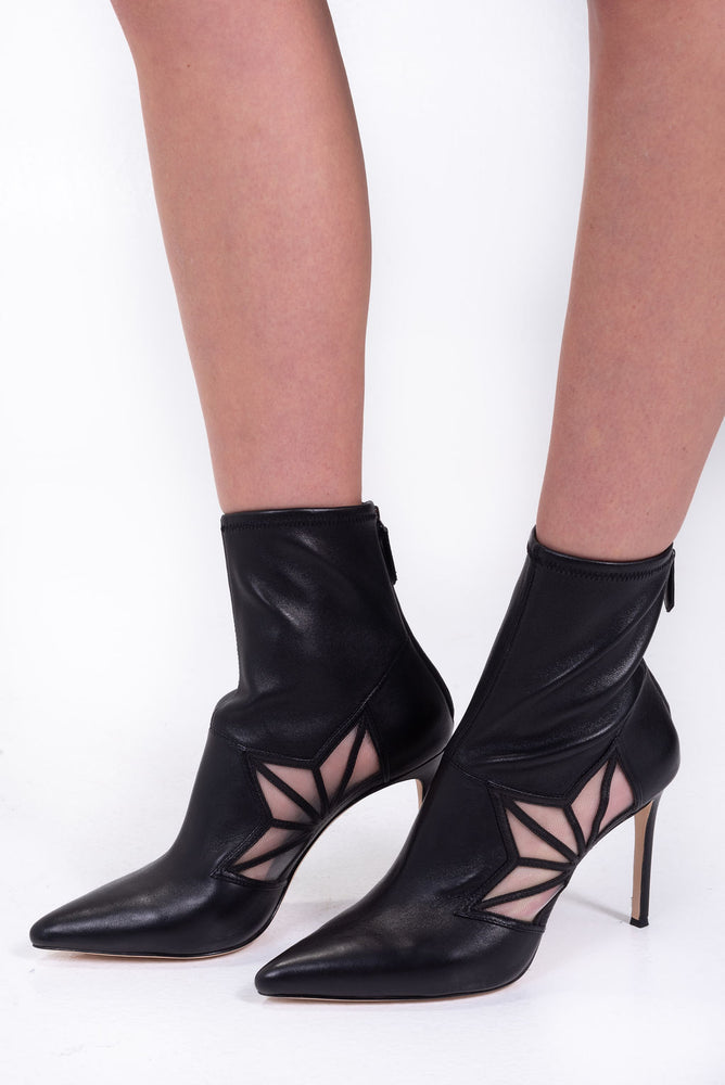 Black Pointed-toe Bootie with mesh window detail. PLV.