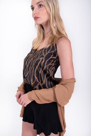 Chainlink silk cami. L'AGENCE. Black and gold