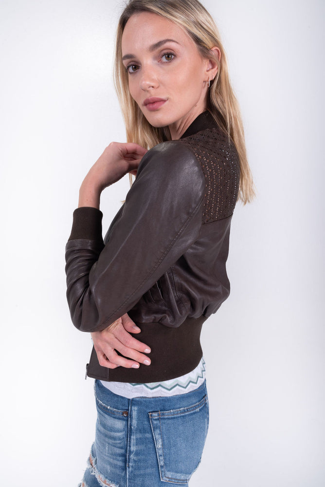 Chocolate brown leather jacket. Flannel Australia. Eyelet detail bomber jacket