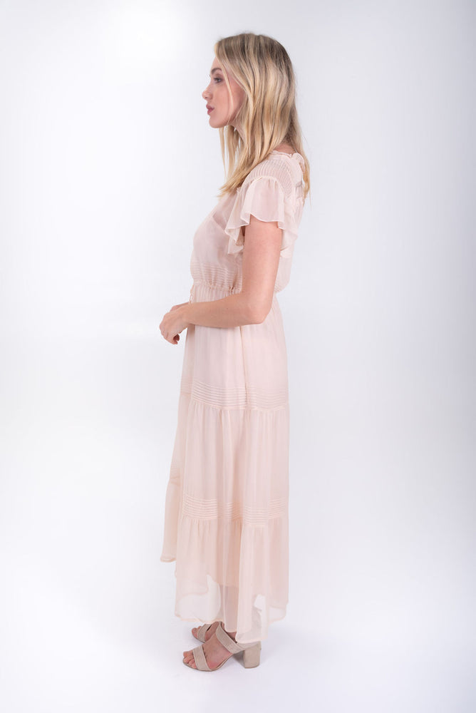 Silk Peasant Dress in Blush pink. Flannel Australia. Sheer midi dress. Synch waist peasant style dress.