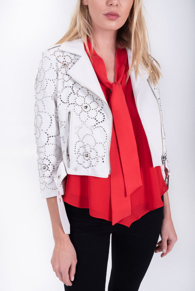 cropped studded leather jacket. white.