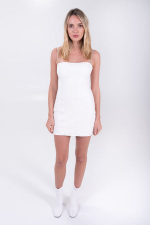 white leather mini dress. 90's style mini dress. Sablyn