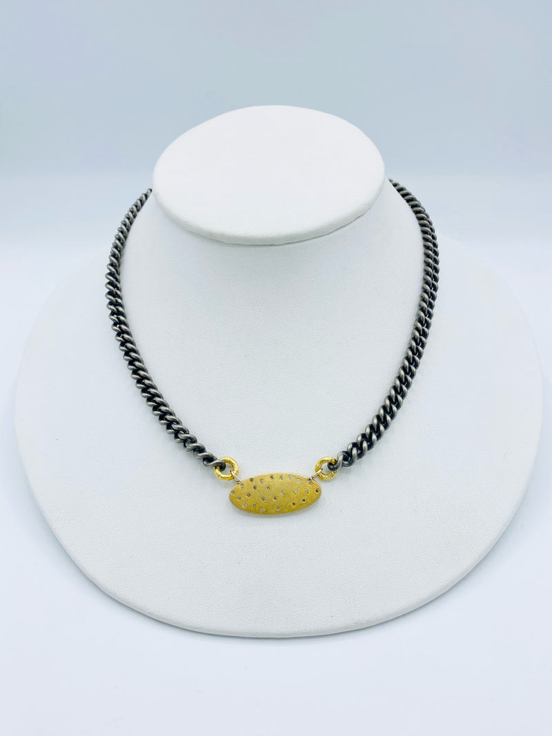 Sterling Silver Chain with Gold Oval Necklace