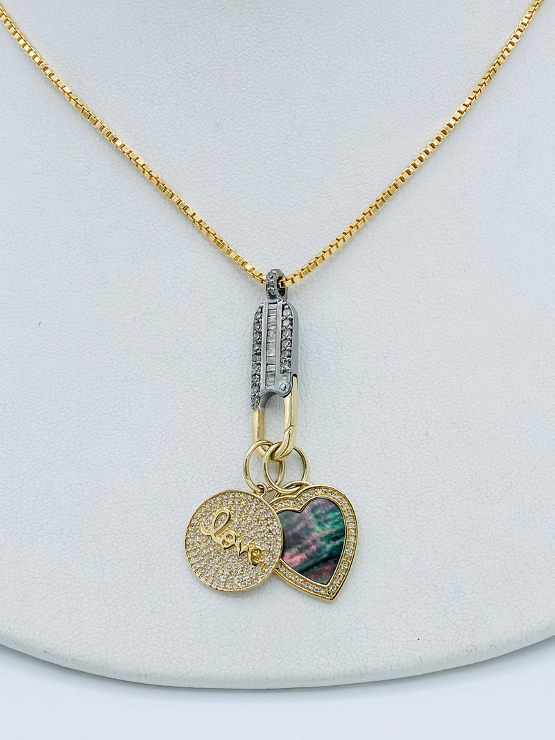 14k Love and Heart Charm Necklace