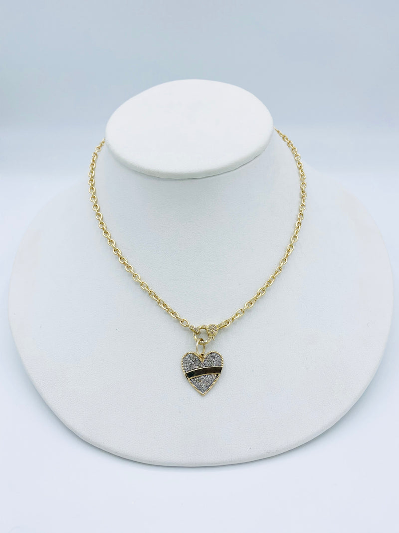 14k Gold Necklace with Heart Tag